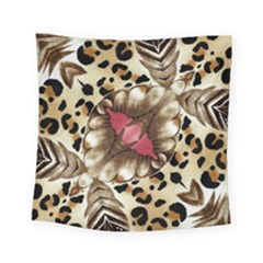 Animal Tissue And Flowers Square Tapestry (small)