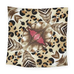 Animal Tissue And Flowers Square Tapestry (large)