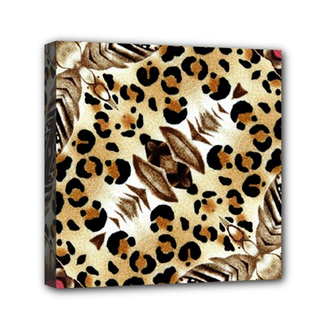 Background Fabric Animal Motifs And Flowers Mini Canvas 6  X 6
