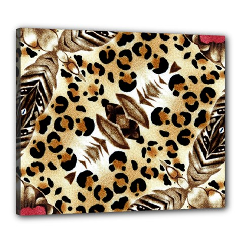 Background Fabric Animal Motifs And Flowers Canvas 24  X 20