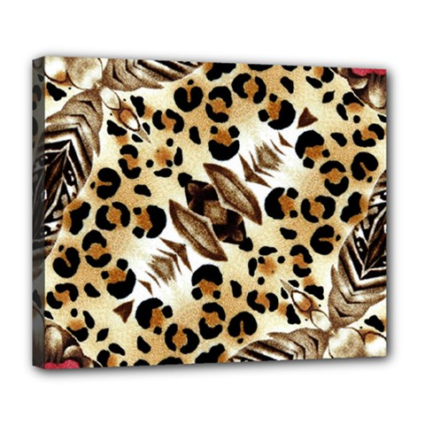 Background Fabric Animal Motifs And Flowers Deluxe Canvas 24  X 20