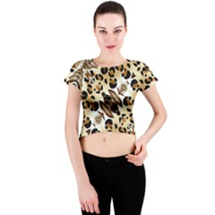 Background Fabric Animal Motifs And Flowers Crew Neck Crop Top