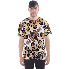 Background Fabric Animal Motifs And Flowers Men s Sport Mesh Tee