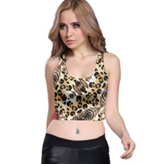 Background Fabric Animal Motifs And Flowers Racer Back Crop Top