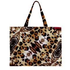Background Fabric Animal Motifs And Flowers Mini Tote Bag
