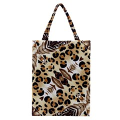 Background Fabric Animal Motifs And Flowers Classic Tote Bag