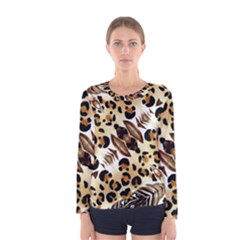 Background Fabric Animal Motifs And Flowers Women s Long Sleeve Tee