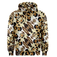 Background Fabric Animal Motifs And Flowers Men s Pullover Hoodie