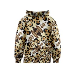 Background Fabric Animal Motifs And Flowers Kids  Pullover Hoodie