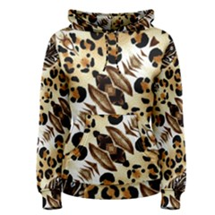 Background Fabric Animal Motifs And Flowers Women s Pullover Hoodie