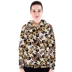 Background Fabric Animal Motifs And Flowers Women s Zipper Hoodie