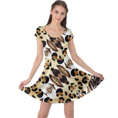 Background Fabric Animal Motifs And Flowers Cap Sleeve Dresses