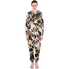 Background Fabric Animal Motifs And Flowers Hooded Jumpsuit (ladies)