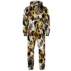 Background Fabric Animal Motifs And Flowers Hooded Jumpsuit (men)