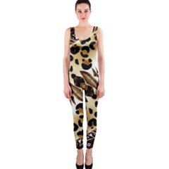 Background Fabric Animal Motifs And Flowers Onepiece Catsuit