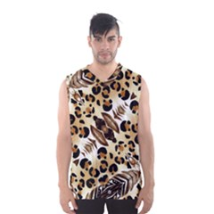 Background Fabric Animal Motifs And Flowers Men s Basketball Tank Top