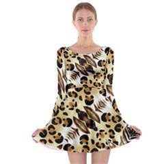 Background Fabric Animal Motifs And Flowers Long Sleeve Skater Dress