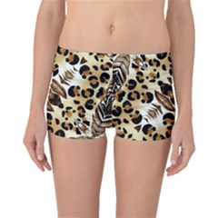 Background Fabric Animal Motifs And Flowers Boyleg Bikini Bottoms