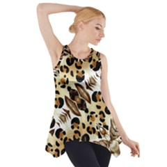 Background Fabric Animal Motifs And Flowers Side Drop Tank Tunic
