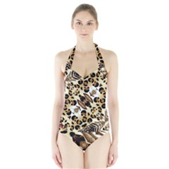 Background Fabric Animal Motifs And Flowers Halter Swimsuit