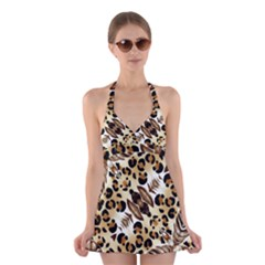 Background Fabric Animal Motifs And Flowers Halter Swimsuit Dress