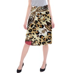 Background Fabric Animal Motifs And Flowers Midi Beach Skirt