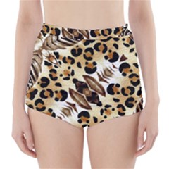 Background Fabric Animal Motifs And Flowers High Waisted Bikini Bottoms