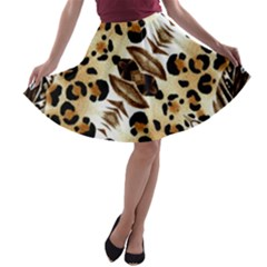Background Fabric Animal Motifs And Flowers A Line Skater Skirt