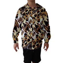 Background Fabric Animal Motifs And Flowers Hooded Wind Breaker (kids)