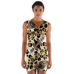 Background Fabric Animal Motifs And Flowers Wrap Front Bodycon Dress