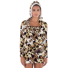 Background Fabric Animal Motifs And Flowers Women s Long Sleeve Hooded T-shirt