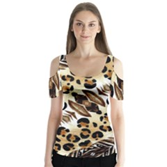 Background Fabric Animal Motifs And Flowers Butterfly Sleeve Cutout Tee