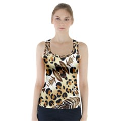 Background Fabric Animal Motifs And Flowers Racer Back Sports Top