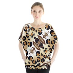 Background Fabric Animal Motifs And Flowers Blouse