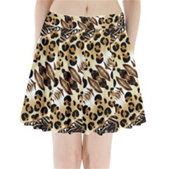 Background Fabric Animal Motifs And Flowers Pleated Mini Skirt