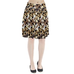 Background Fabric Animal Motifs And Flowers Pleated Skirt