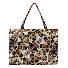 Background Fabric Animal Motifs And Flowers Medium Tote Bag