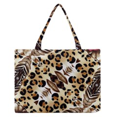 Background Fabric Animal Motifs And Flowers Medium Zipper Tote Bag