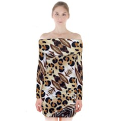 Background Fabric Animal Motifs And Flowers Long Sleeve Off Shoulder Dress