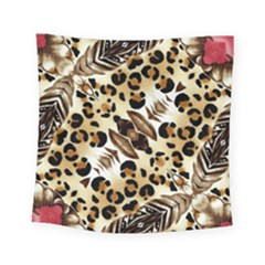 Background Fabric Animal Motifs And Flowers Square Tapestry (small)