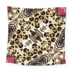 Background Fabric Animal Motifs And Flowers Square Tapestry (large)