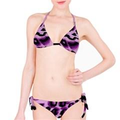 Background Fabric Animal Motifs Lilac Bikini Set