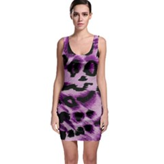 Background Fabric Animal Motifs Lilac Sleeveless Bodycon Dress