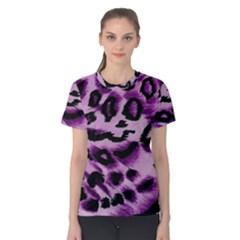 Background Fabric Animal Motifs Lilac Women s Cotton Tee