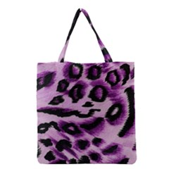 Background Fabric Animal Motifs Lilac Grocery Tote Bag