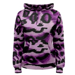 Background Fabric Animal Motifs Lilac Women s Pullover Hoodie
