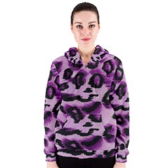 Background Fabric Animal Motifs Lilac Women s Zipper Hoodie