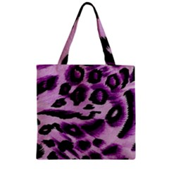 Background Fabric Animal Motifs Lilac Zipper Grocery Tote Bag