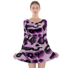 Background Fabric Animal Motifs Lilac Long Sleeve Skater Dress