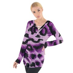 Background Fabric Animal Motifs Lilac Women s Tie Up Tee